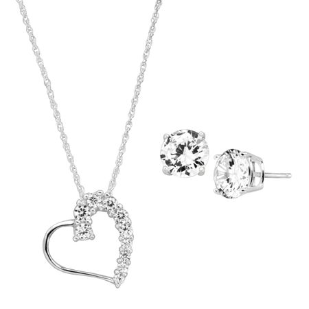 Heart Pendant & Stud Earrings Set with Cubic Zirconia