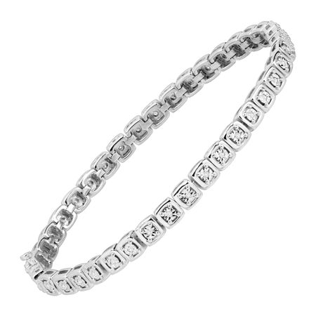 1/5 ct Diamond Square Tennis Bracelet