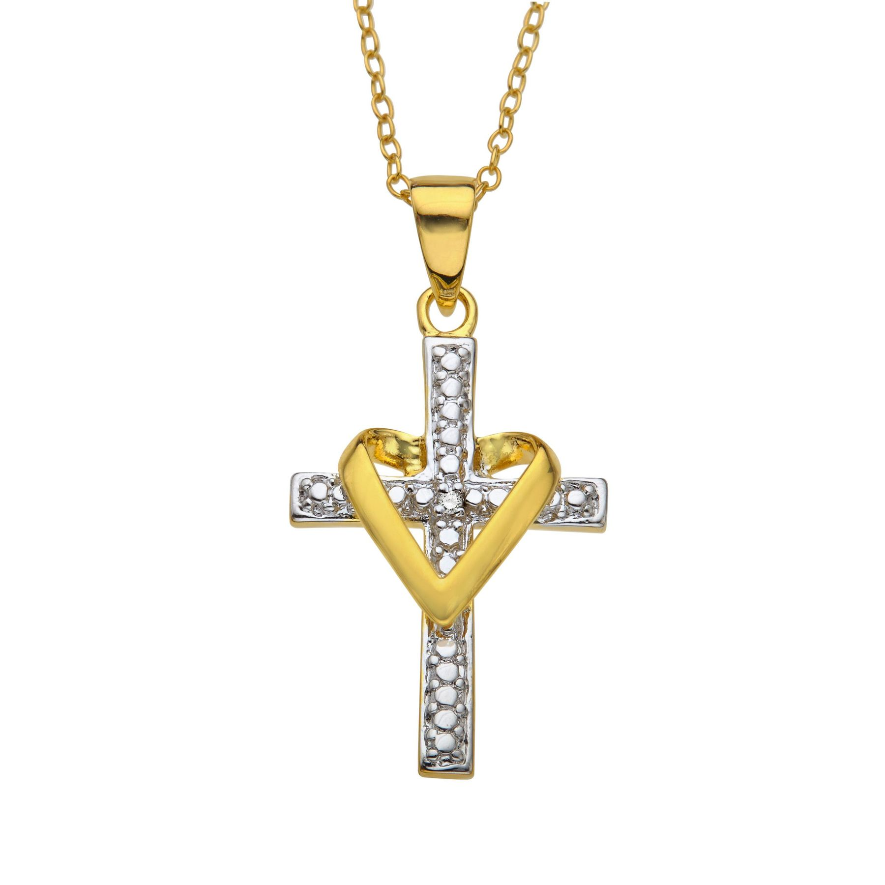 Heart cross pendant with diamond in 18k gold plated sterling silver heart cross pendant with necklace aloadofball Gallery