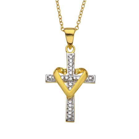 Heart Cross Pendant with Necklace