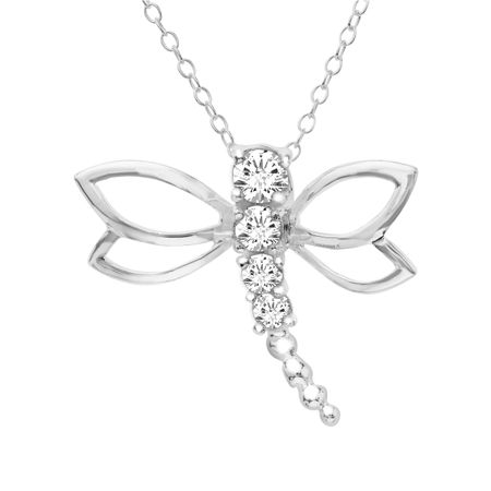 Dragonfly pendant with swarovski zirconia in sterling silver dragonfly pendant with swarovski mozeypictures Images