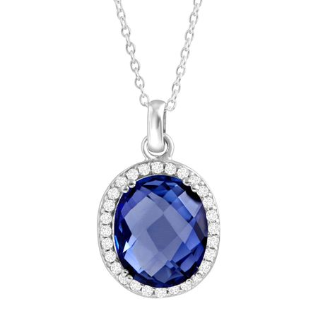 sapphire gold saphire diamond womens pendant white ct necklace blue