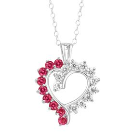 3/4 ct Ruby & Cubic Zirconia Open Heart Pendant