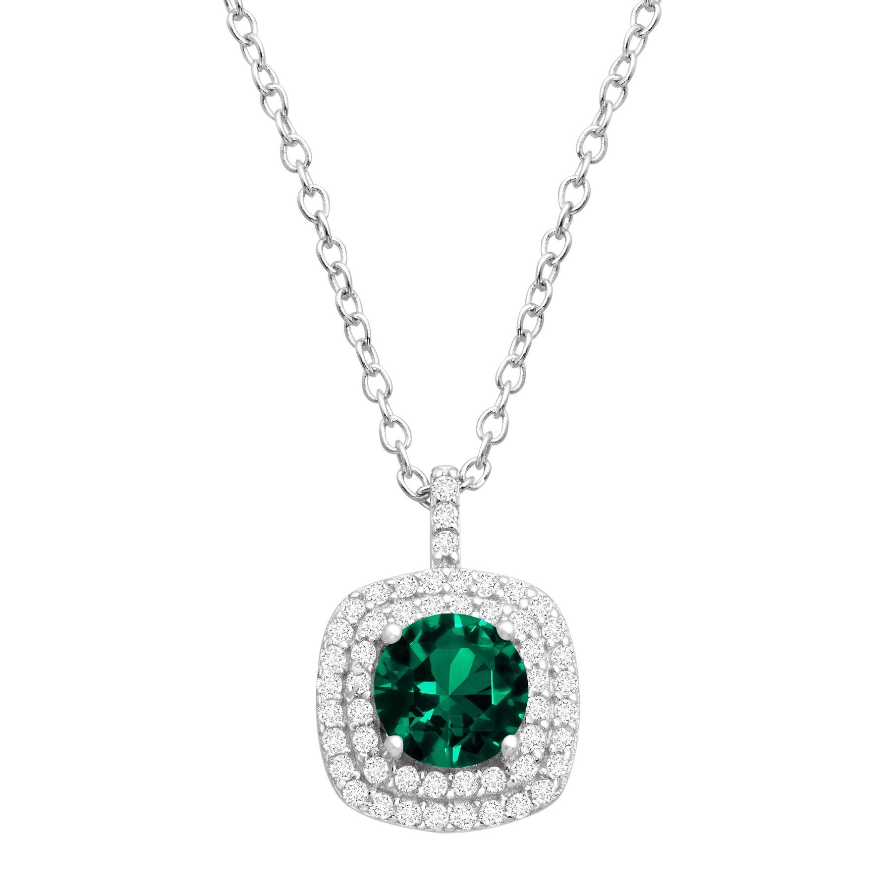 1 110 ct created emerald and cubic zirconia pendant necklace in 1 110 ct emerald cubic zirconia pendant aloadofball Images