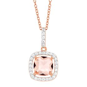 1 3/4 ct Morganite & Cubic Zirconia Pendant