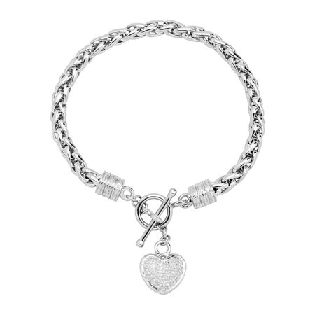 1/8 ct Diamond Heart Charm Bracelet