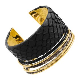 Cobra Cuff in Genuine Leather, Black
