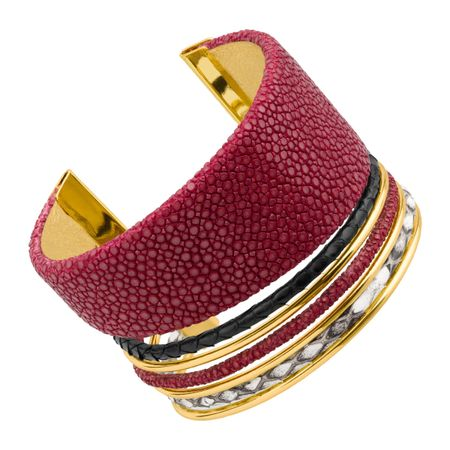 e36449358fb Cristina Sabatini Red Cobra Cuff with Genuine Stingray & Python ...