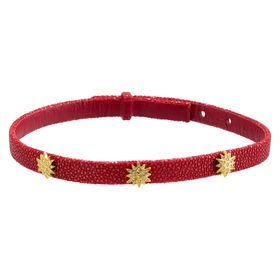 Radiant Choker Necklace with Cubic Zirconia in Python Leather, Red