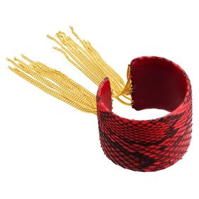 Fringe Cuff with Genuine Leather, Red