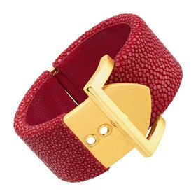 Square Buckle Bangle with Stingray Leather