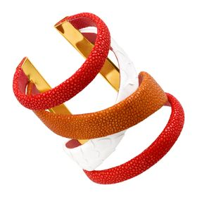 Gladiator Cuff with Stingray Leather, Red