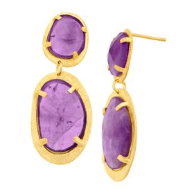 19 ct Amethyst Plate Drop Earrings