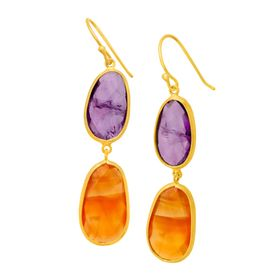 18 ct Amethyst & Carnelian Drop Earrings