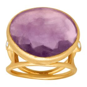 8 7/8 ct Amethyst Ring with Diamonds