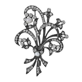 Art Nouveau Brooch with Swarovski Crystals