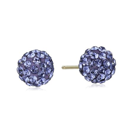 Ball Stud Earrings with Purple Swarovski Crystals