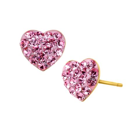 Girl's Heart Stud Earrings with Pink Crystals