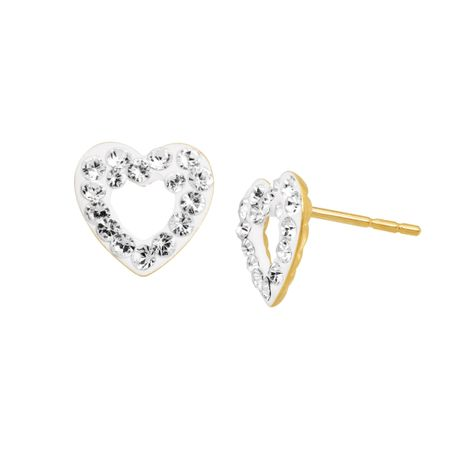 Open Heart Stud Earrings with Crystals
