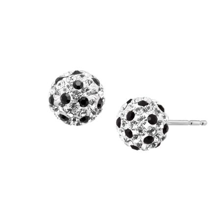 5a9c81d13 Ball Stud Earrings with Crystals in 14K White Gold | Ball Stud ...
