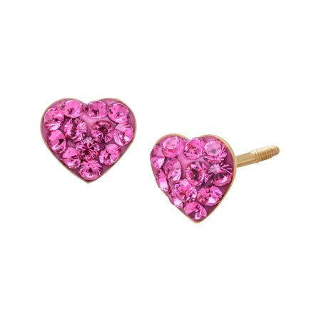 Heart Stud Earrings with Swarovski Crystals