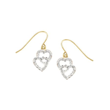 Girl's Double Heart Earrings with Swarovski Crystals