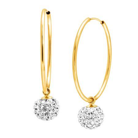 Crystal Ball Drop Hoop Earrings