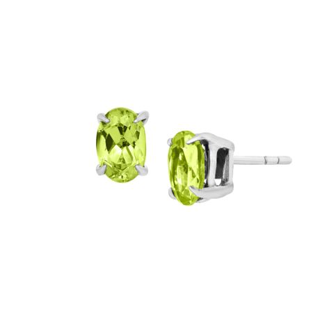 1 ct Oval-Cut Peridot Stud Earrings