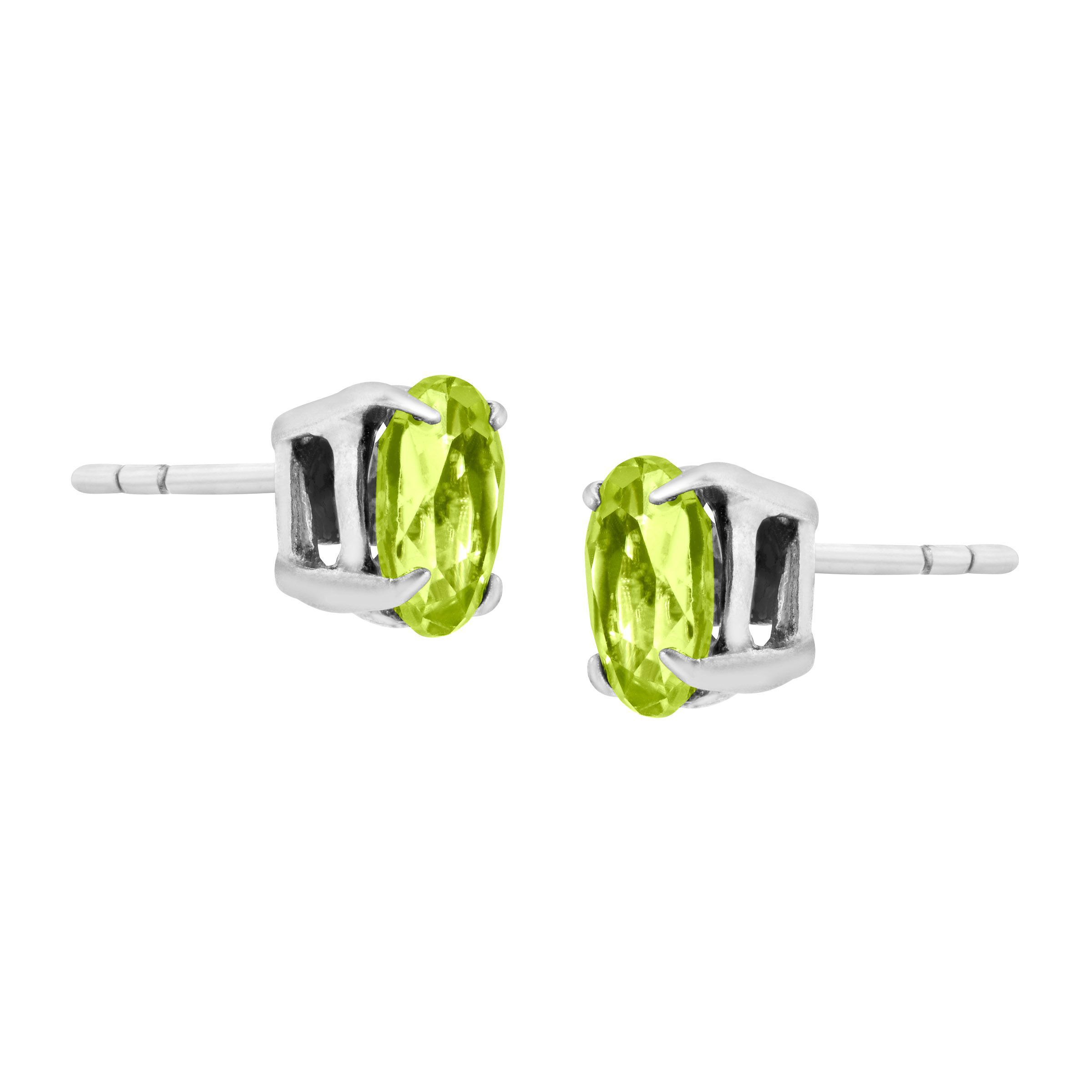 1 Ct Oval Cut Natural Peridot Stud Earrings In Sterling Silver