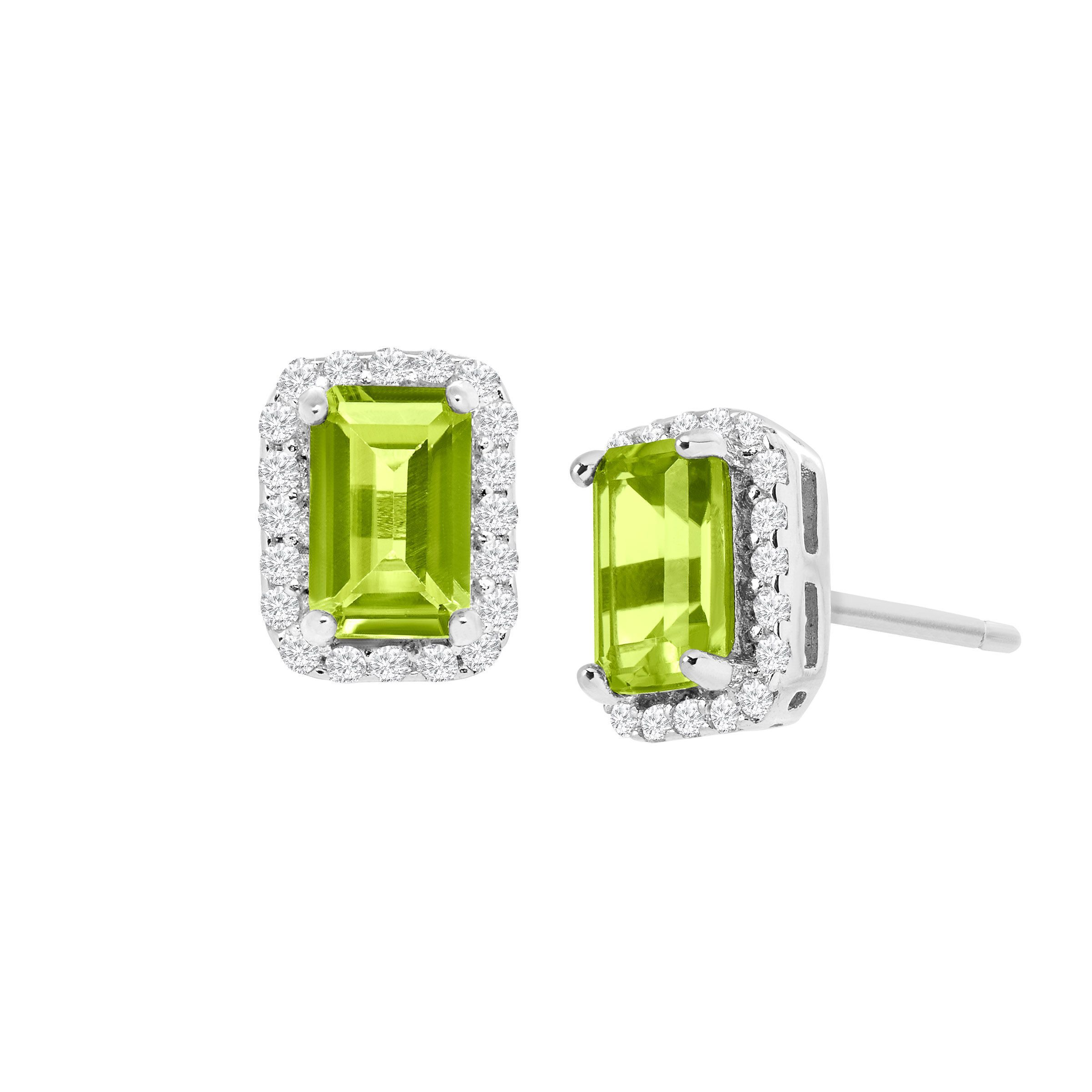 Details About 1 5 Ct Natural Peridot Stud Earrings With Cubic Zirconia In Sterling Silver