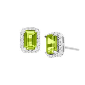 1 1/5 ct Peridot Stud Earrings with Cubic Zirconia