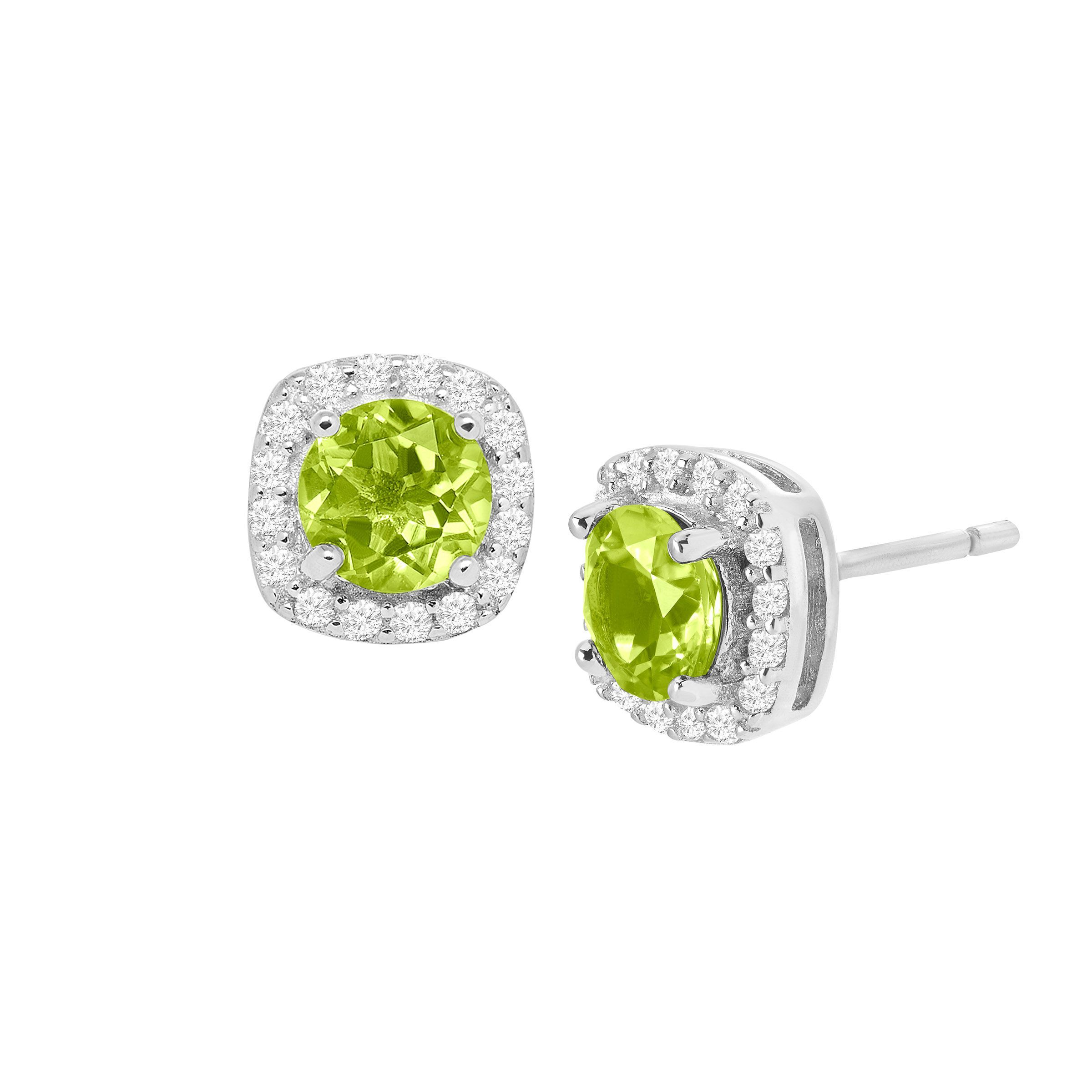 4a380fb9df650 Details about 1 1/4 ct Natural Peridot & Cubic Zirconia Stud Earrings in  Sterling Silver