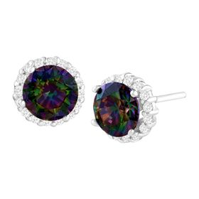 5 ct Green Mystic Cubic Zirconia Stud Earrings