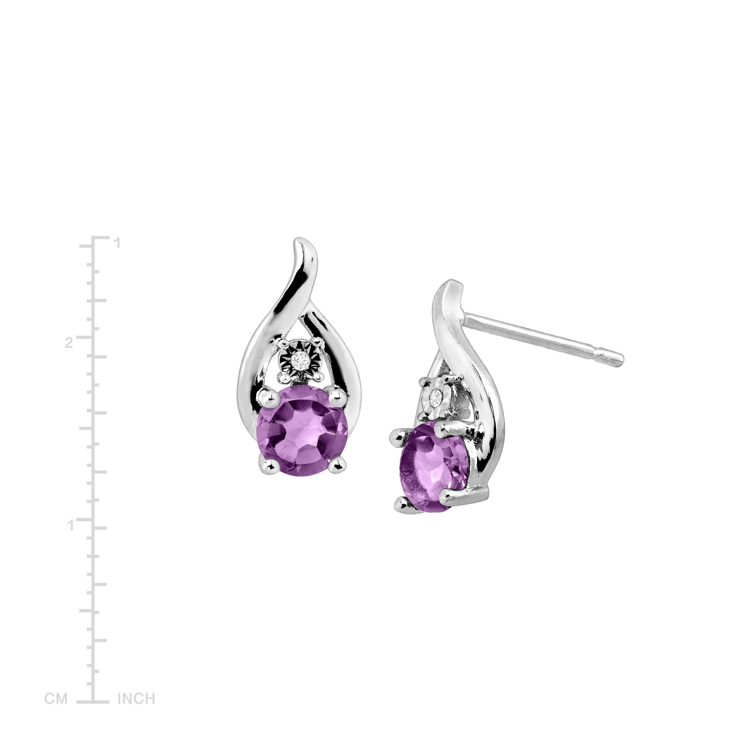 978e06f60 Natural Amethyst Droplet Stud Earrings with Diamonds in Sterling Silver