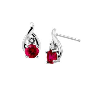 Ruby Droplet Stud Earrings with Diamonds