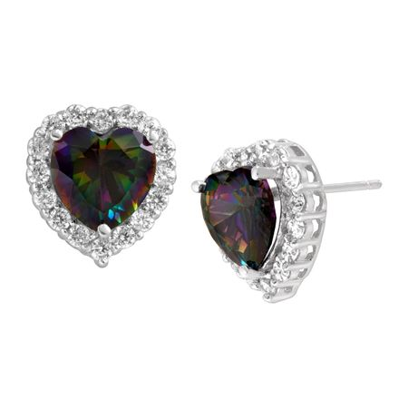 5 1 Ct Green Mystic Topaz White Heart Stud Earrings