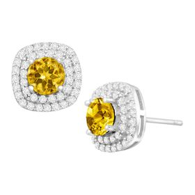 1 1/4 ct Citrine & Cubic Zirconia Halo Stud Earrings