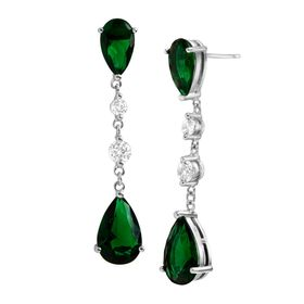 Green Cubic Zirconia & White Sapphire Dewdrop Earrings