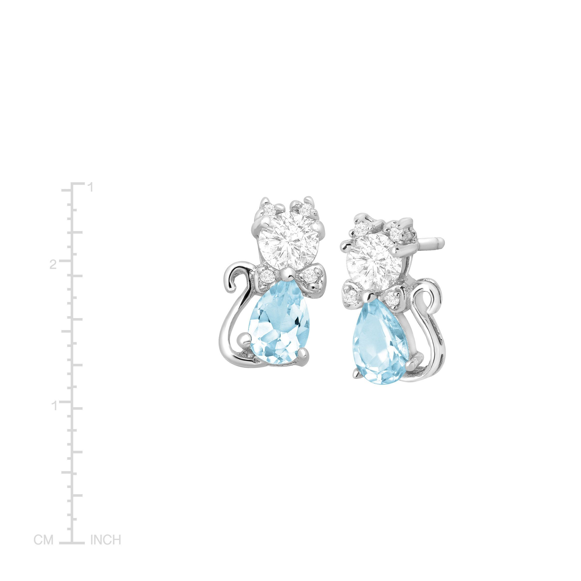 2 Ct Natural Sky Blue Topaz Cubic Zirconia Cat Stud Earrings Sterling Silver