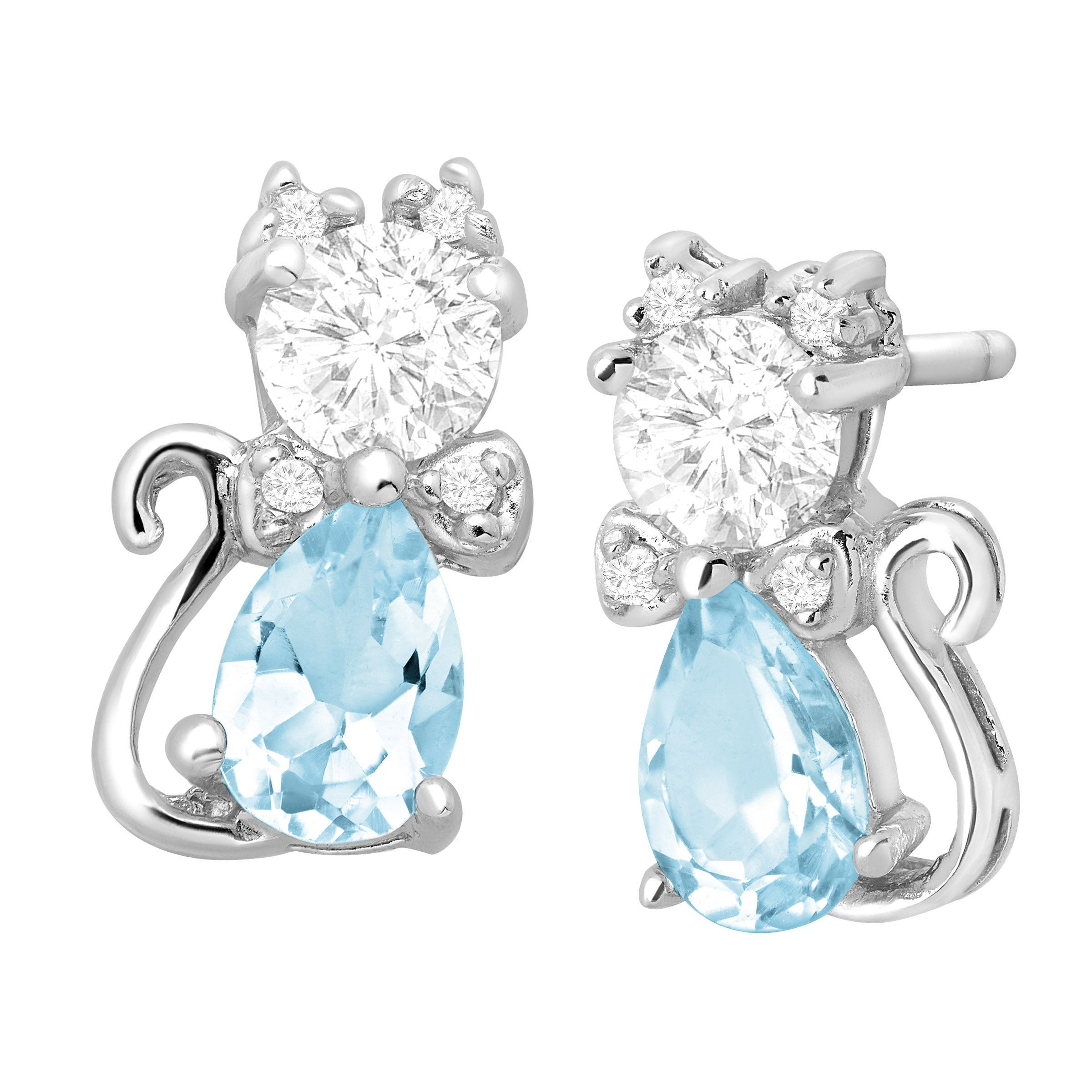 be2da5f0d Details about 1 7/8 ct Natural Sky Blue Topaz & CZ Cat Stud Earrings in Sterling  Silver
