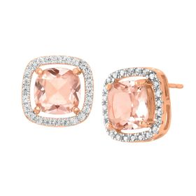 Morganite & Cubic Zirconia Stud Earrings