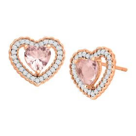 Morganite & Cubic Zirconia Heart Stud Earrings