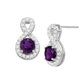 Amethyst & White Topaz Infinity Earrings