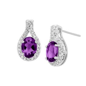 Amethyst & White Topaz Teardrop Earrings