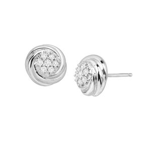 1/4 ct Diamond Swirled Cluster Earrings
