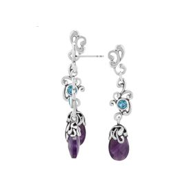 Apatite & Amethyst  Drop Earrings