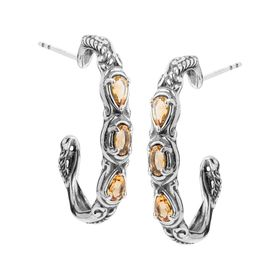 Simply Fabulous Citrine Three-Stone Hoop Earrings