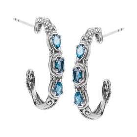 Simply Fabulous London Blue Topaz Three-Stone Hoop Earrings