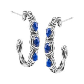 Simply Fabulous Lapis Three-Stone Hoop Earrings
