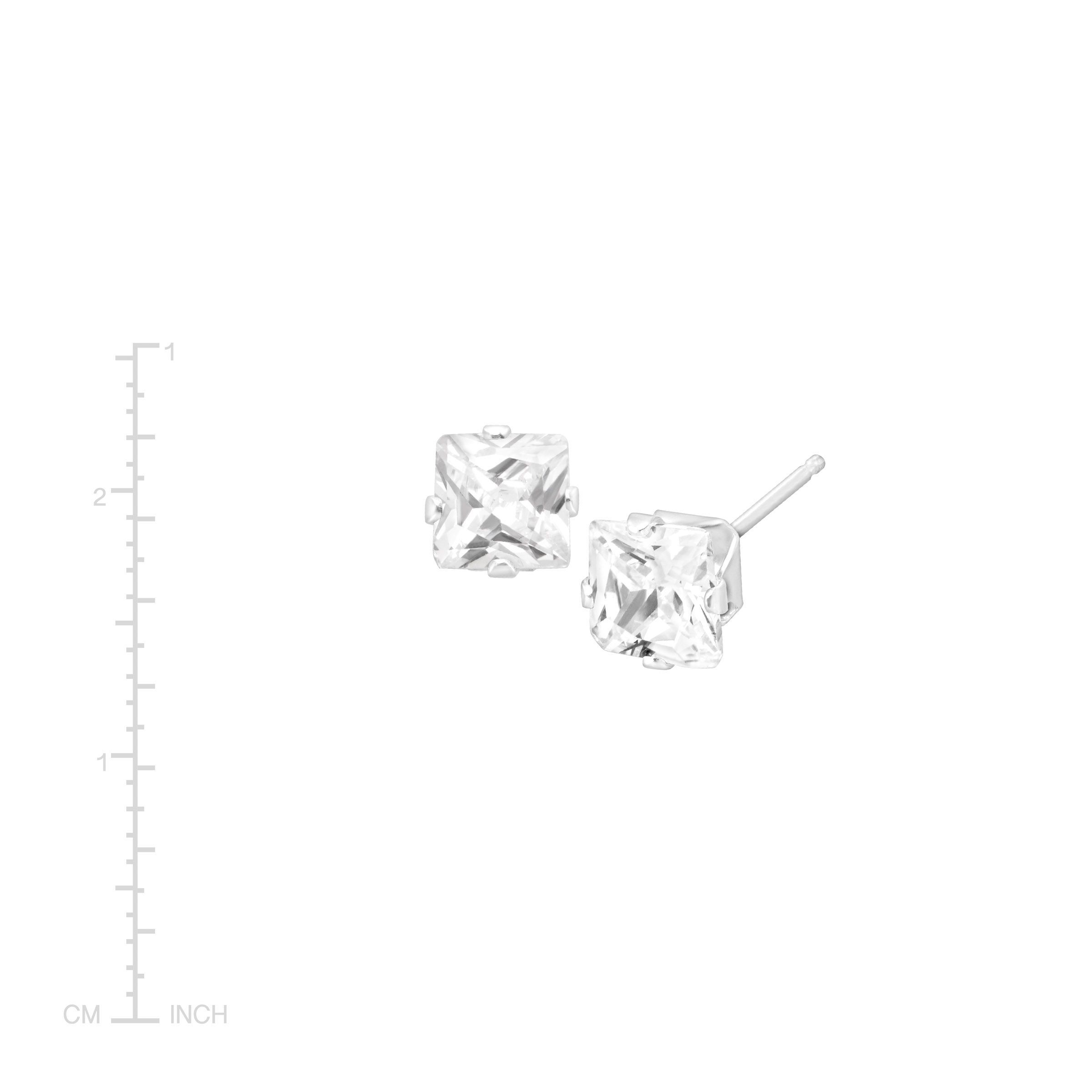 5a9540295 Details about 5x5 mm Cushion-Cut Cubic Zirconia Stud Earrings in 14K White  Gold